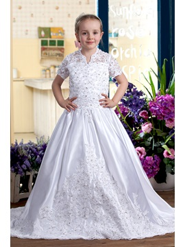 A Line V Neck Short Sleeves Appliques Sequins Flower Girls Dress