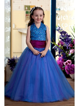Attracitve Halter Sequins Beaded Flower Girl Dress