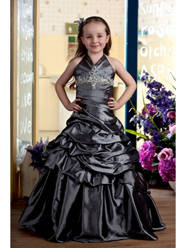Enchanting Floor Length Ball Gown Halter Ruched Flower Girl Dress