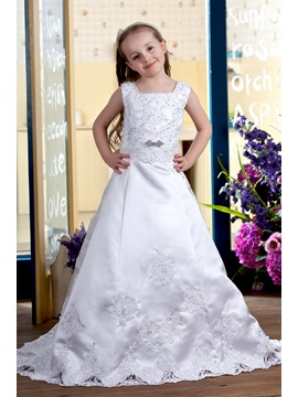 A Line Square Brush Train Satin Flower Girls Dress 2013 Style