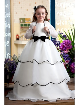Bowknot Tiered Flower Girl Dress With Jacket