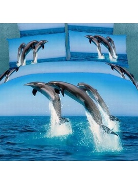Popular Painting Dolphin Cotton 4 Pieces Bedding Sets