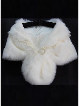 Brilliant Plush Lace Collar Ladys Faux Fur Wedding Evening Shawl With Pearl Ball