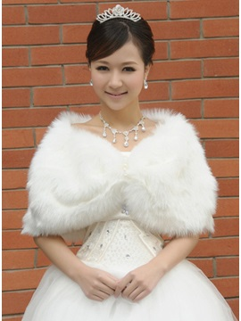 Bowknot Shape Plush Ladys Faux Fur Wedding Evening Shawl