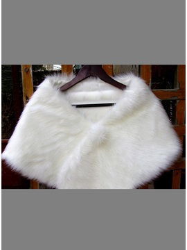 Simple Style Ladys Faux Fur Wedding Evening Shawl With Fluffy Ball