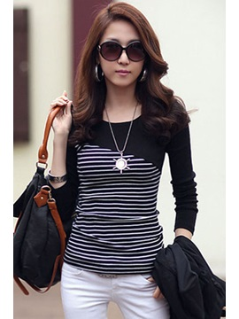 Soft Split Round Neckline Long Sleeve Elastic T Shirt
