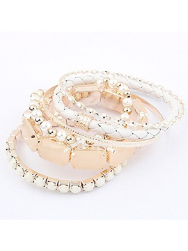 Brilliant White Fashion Ladys Alloy And Pearls Bracelets Set