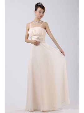 Pleats Flower A Line Floor Length Bridesmaid Dress