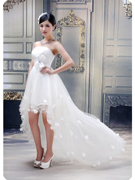 Stunning Ball Gown Strapless Ruffles Flowers High Low Wedding Dress