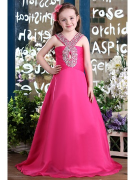 Amazing A Line Floor Length Beaded Flower Girl Dress