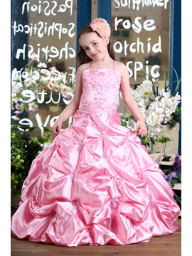Popular Ball Gown Floor Length Spaghetti Straps Pleats Flower Girl Dress