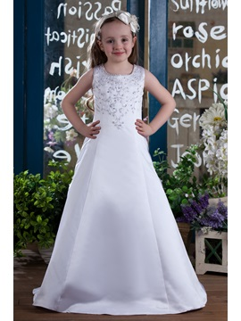 A Line Straps Embroidery Sequins Flower Girls Dress