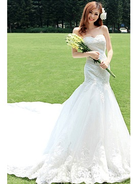 Simple Style Mermaid Sweetheart Floor Length Cathedral Wedding Dress