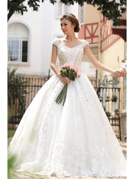 Classical Princess Off The Shoulder Sequins Floor Length Wedding Dress