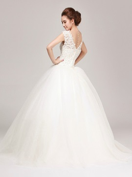 Stunning Ball Gown Straps Floor Length Lace Flowers Beading Wedding Dress