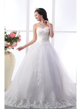 Luxury A Line Sweetheart Floor Length Chapel Train Wedding Dress