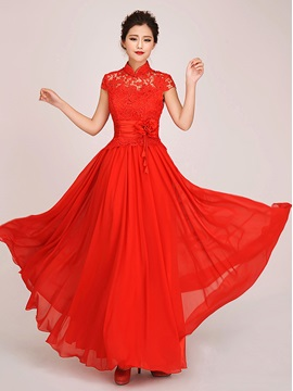 Vintage A Line High Neck Lace Flower Short Sleeves Long Prom Dress