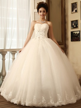 Graceful Ball Gown Floor Length Sweetheart Ruffles Flowers Lace Wedding Dress