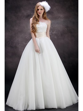 Strapless Empire Appliques A Line Floor Length Plus Size Wedding Dress