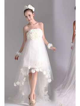 Charming Flowered Asymmetrial A Line Strapless Beach Wedding Dress