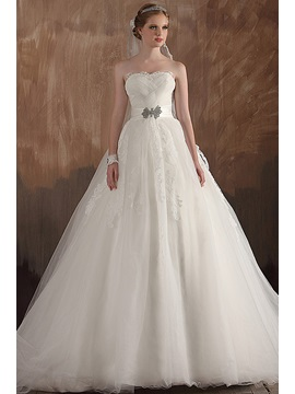 Elegant A Line Empire Ruched Strapless Applique Long Wedding Dress