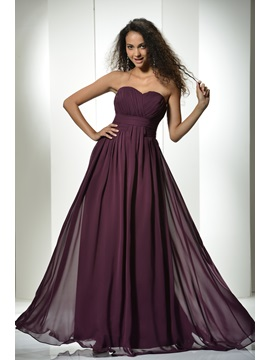 Simple Ruched A Line Floor Length Sweetheart Empire Waist Long Dress