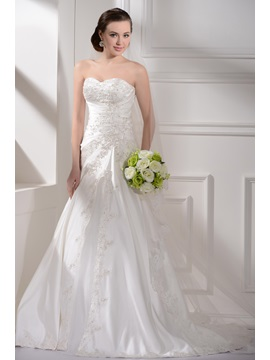 Satin Sweetheart Neckline With A Line Skirt And Chapel Train Custom Made Wedding Dress