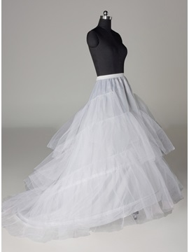 Elegant A Line Three Layers Three Steel Loops Court Train Wedding Petticoat