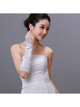 Elegant Half Length Finger Less Bridal Gloves With Lace