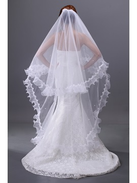 Enchanting Beads Single Wire Yarn Ankle Length Waltz Wedding Bridal Veil