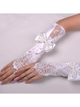 Glorious Finger Less Lace Bowknot Bridal Gloves
