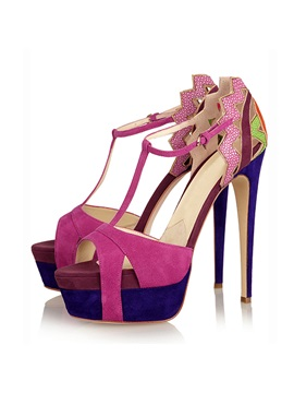 Suede T Strap Stiletto Heel Sandals