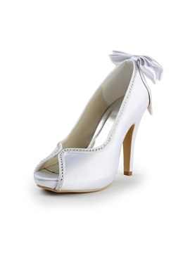 High Quality Satin Peep Toe Stiletto Heels Wedding Shoes