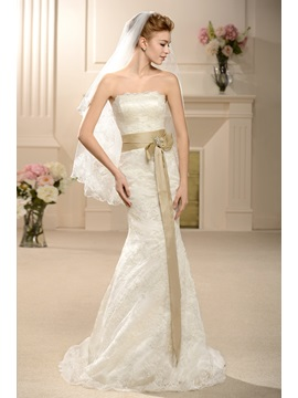 Amazing Trumpet Mermaid Floor Length Strapless Court Lace Wedding Dress