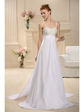 A Line Empire Spaghetti Straps Sweep Wedding Dress