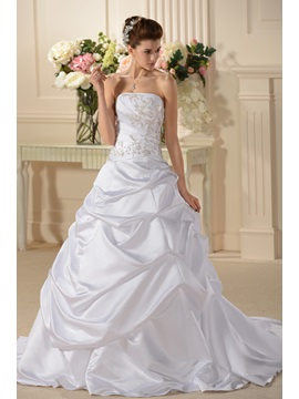 Pretty A Line Princess Beaded Ruffles Strapless Chapel Train Wedding Dress