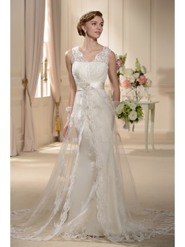 Awesome A Line V Neck Straps Chapel Wedding Dress