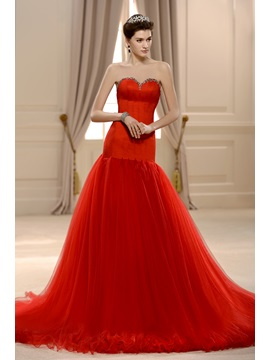 Fabulous Beaded Sweetheart Floor Length Backless Mermaid Red Wedding Dress