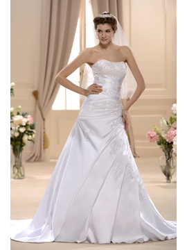 Great A Line Princess Sweetheart Chapel Bridal Gown Wedding Dress
