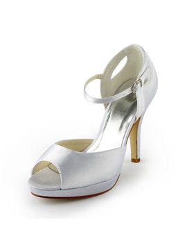 Elegant Satin Peep Toe Stiletto Heels Wedding Shoes