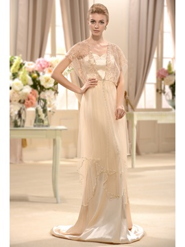 Empire V Neck Short Sleeves Court Train Beading Wedding Dress