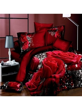 Sweet Red Rose Print 4 Piece Cotton Bedding Sets
