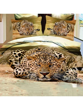 Unique Golden Jaguar Shaped 4 Pieces 3d Bedding Sets