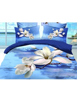 Romantic Blue Background With White Florals Active Printed 4 Piece Cotton Comforter Sets