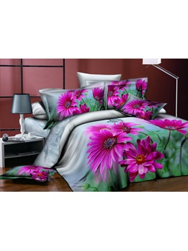 Best Selling Grey Background 4 Piece Bedding Sets With Pink Floral Prints