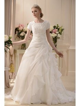 Elegant A Line Princess Scoop Short Sleeve Floor Length Chapel Pick Up Wedding Dress