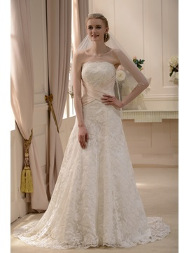 Elegant Slight Strapless A Line Princess Court Train Wedding Dress