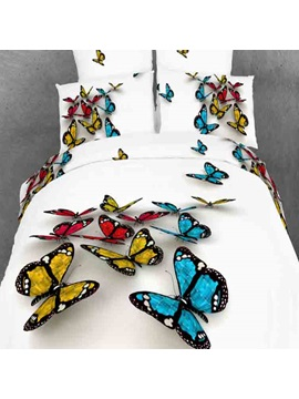 Colorful 3d Butterfly Print With White Color Duvet Cover 4 Piece Bedding Sets