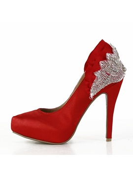 Red Color Satin Upper Womens Shoes