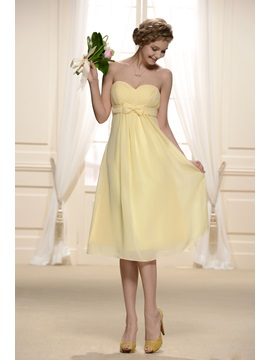 Cute Empire Waist Sweetheart Bowknot Knee Length Bridesmaid Dress